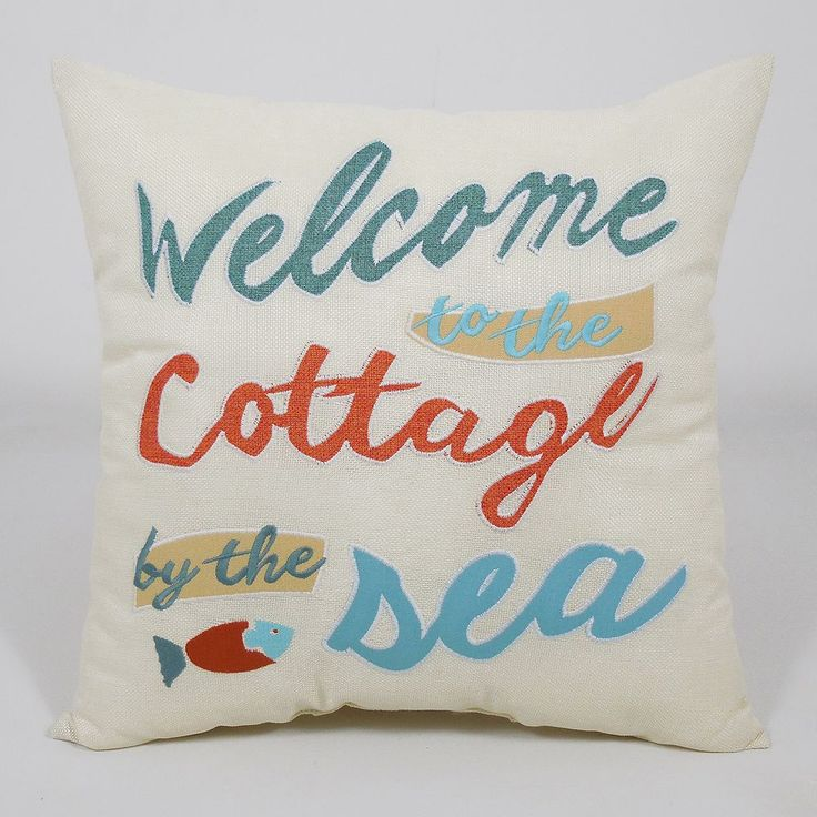 Essentials ''Welcome to the Cottage'' Throw Pillow, White