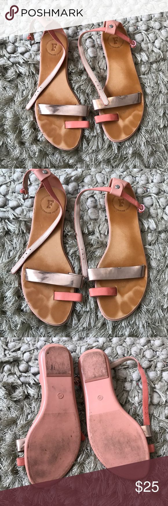 French connection pink sandals 38 In used condition, rubber soled sandals very comfortable. French Connection Shoes Sandals