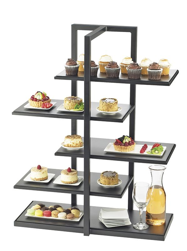 One by One Multi Level Shelf Display Item: 3303-96 and 3304-96. Add new flare to your food presentation. The  One by One Multi Level Shelf Display outputs a new twist on any display. The offset shelves allow for a break inthe long line of boring, mundane, stands. http://www.calmil.com/index.php?page=shop.product_details&flypage=flypage.tpl&category_id=58&product_id=1757&option=com_virtuemart&Itemid=87