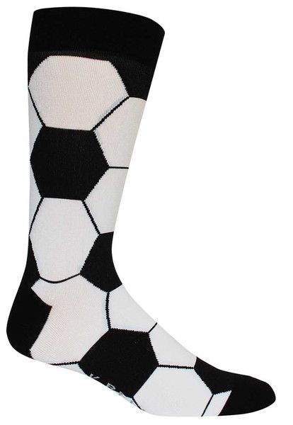 Black and white soccer ball (or perhaps you call it football) patterned socks.