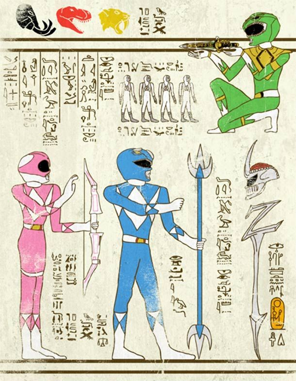 """Artist: Josh LN ~ """"""""Hero-Glyphics"""" or when superheroes are invited in the papyrus of ancient Egypt. An excellent series featuring Spiderman, Thor, Captain America, or the Star Trek & Teenage Mutant Ninja Turtles! Artwork designed by artist Josh LN."""" ~ This one: Power Rangers ~"""