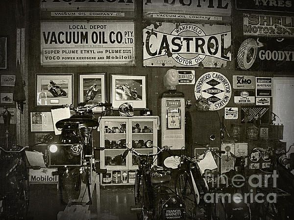 #MOTORCYCLE #MUSEUM - #OILS - #OLD #SIGNAGE - Quality Prints and Cards at: http://kaye-menner.artistwebsites.com/featured/motorcycle-museum-oils-old-signage-kaye-menner.html  -