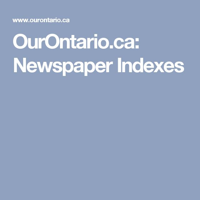 OurOntario.ca: Newspaper Indexes