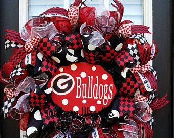 Georgia Bulldogs Door Wreath, Georgia Football Decoration, Georgia Deco Mesh Wreath, Georgia Bulldogs, University of Georgia Wreath