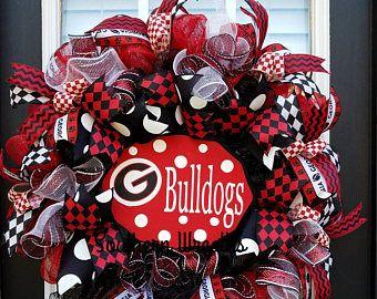 Georgia Bulldogs Door Wreath, Georgia Football Decoration, Georgia Deco Mesh Wreath, Georgia Bulldogs, University of Georgia Wreath