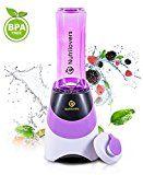 NUTRILOVERS Smoothie-Maker mit Trink-Flasche to GO (BPA-frei) - Mini-Stand-Mixer | Edelstahl-Messer, bis zu 23.000U/min, 0,4PS Motor (300 Watt) – lila