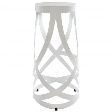 Delightful Modern White Metal Accent Stool Stripe