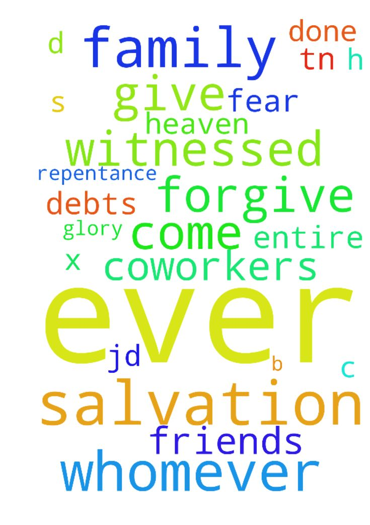 "Salvation of Family, Frends & Co-workers -  	 		I ask the salvation of all my friends, family & co-workers. Salvation for every person I've ever witnessed or for whom I've ever prayed, or has done so for me. Salvation for anyone I have ever met, thought of or thought about me. Thank you in Jesus' Name. 	  	 		� 	  	 		https://www.prayerrequest.com/blogs/entry/18553-salvation-of-households-scriptural-and-historical-grounds/ 	  	 		� 	  	 		Our Father in Heaven (Jesus says ""Father in Matthew 6…"