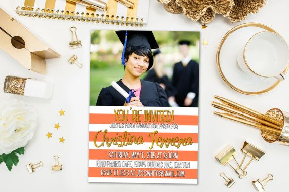 Graduation Party Invitations / Coral and White Striped, Photo / Party Invite for Graduate / Class of 2015, 2016 / Digital or Printed Cards