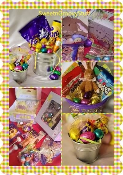 #Easter #gifts for all from as little as £1!! Pop over to our facebook page for more   #Baskets #Bunnies #chocolate #sweets #giftbox #buckets #sweetngroovystuff www.facebook.com/sweetngroovystuff