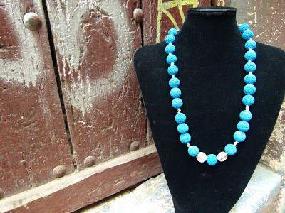 Collana di Lava colorata e Metallo  #moda #design #artigianato #madeinitaly #shopping #roma #bijoux #arte