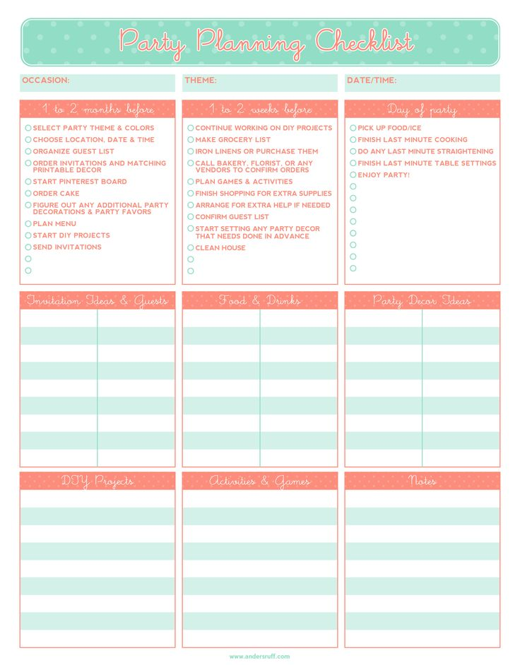 Free printable party planning checklist
