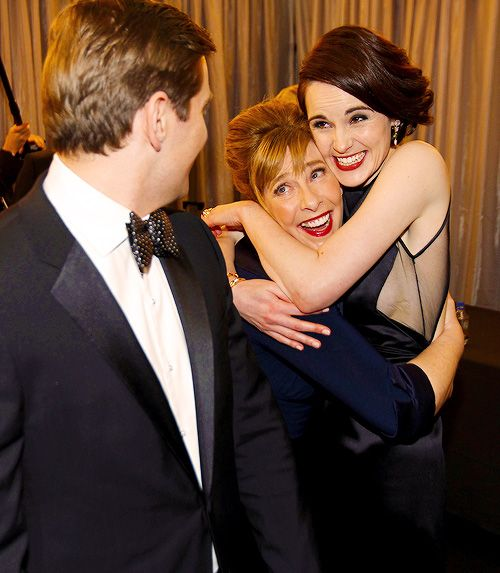 Allen Leech, Phyllis Logan and Michelle Dockery backstage after winning Best TV Drama Ensemble at the 2013 SAG Awards