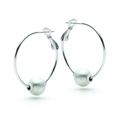 Sterling Silver White Freshwater Pearl 9.5-10.5mm hoop Earrings