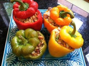 Primal Stuffed Peppers- Used sausage instead of beef, no mushrooms, used cajun seasoning.  They were Awesome!