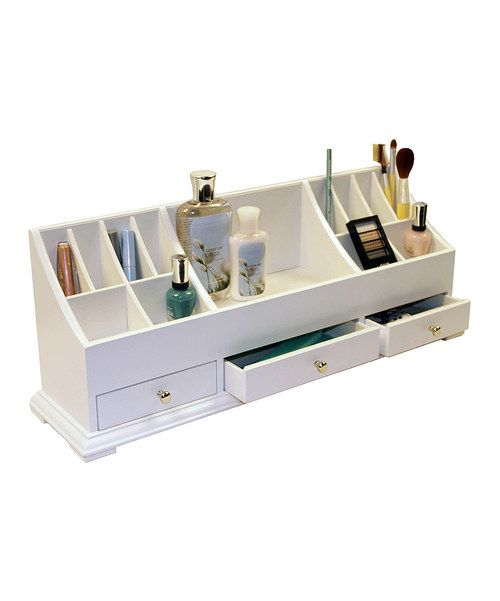 Neatly and easily store cosmetics, nail polish and more with this chic organizer. Perfect for bathroom counters, this piece clears up clutter for a tidy powder room.