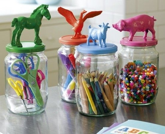 plastic toys painted and glued to mason jar lid.Retro and genius...