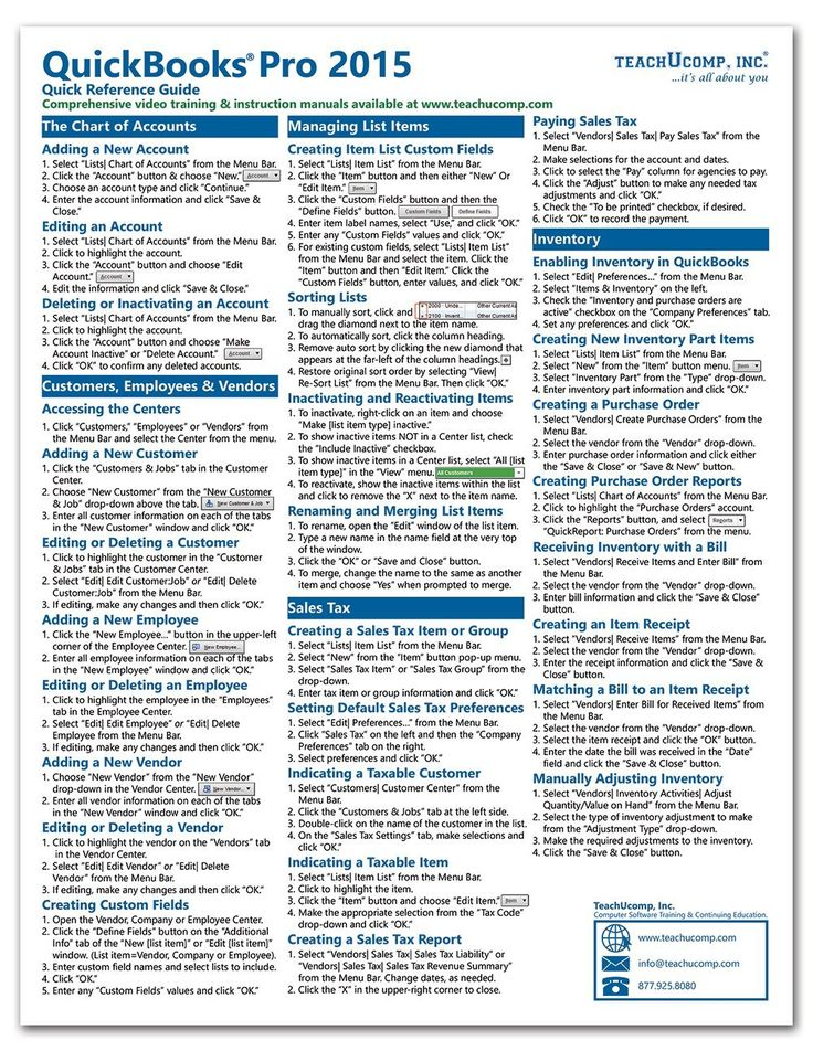 QuickBooks Pro 2015 Quick Reference Training Card - Laminated Guide Cheat Sheet (Instructions and Tips): TeachUcomp Inc.: 9781941854044: Amazon.com: Books
