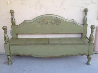 Bed to bench.Crafts Ideas, Beds To Benches, Reading Nooks, Beds Frames, Repurpoed Furniture, Dejavu Crafts, Furniture Ideas, Diy, Headboards Benches