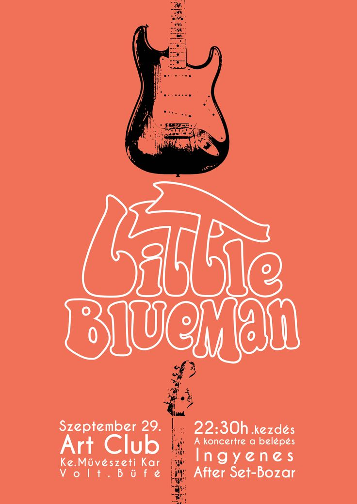 Little BlueMan Poster, music, guitar, graphic, typography, design, fender stratocaster, concert