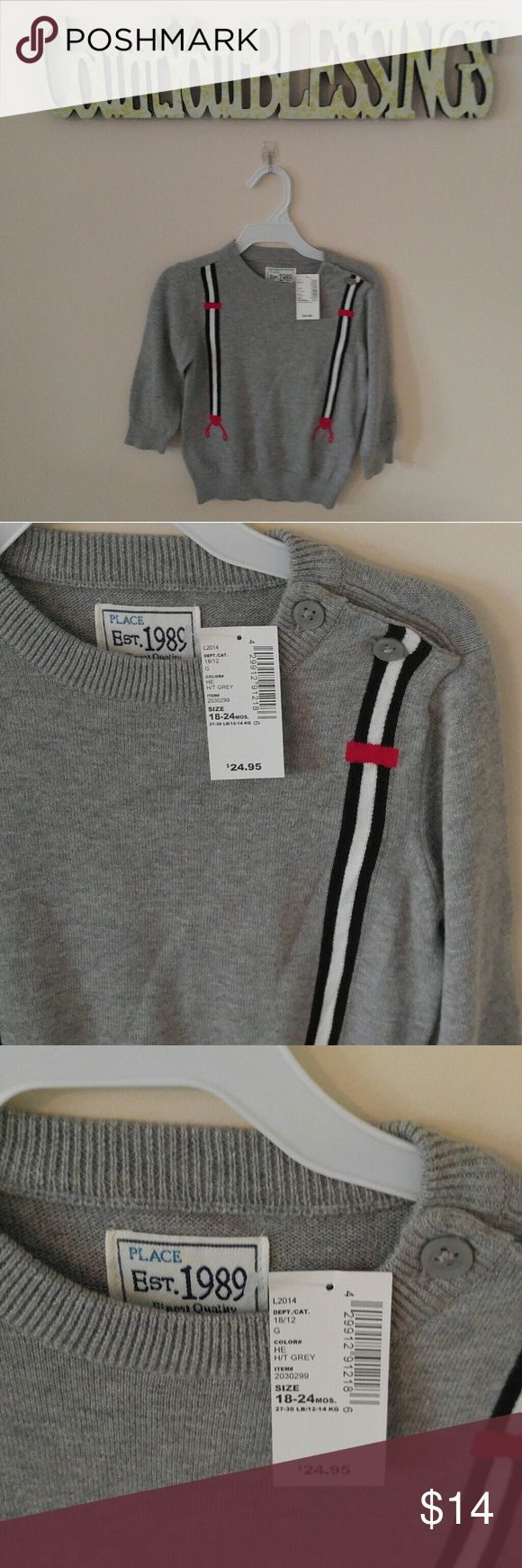 3 for $25 NWT Children's Place Suspender Sweater 3 for $25- Purchase for list price, make offer OR BUNDLE & SAVE BIG!! Bundle 3 items (marked 3 for $25) and offer $25! MIX & MATCH- Womens, Juniors, Kids & Men Children's Place Shirts & Tops Sweaters