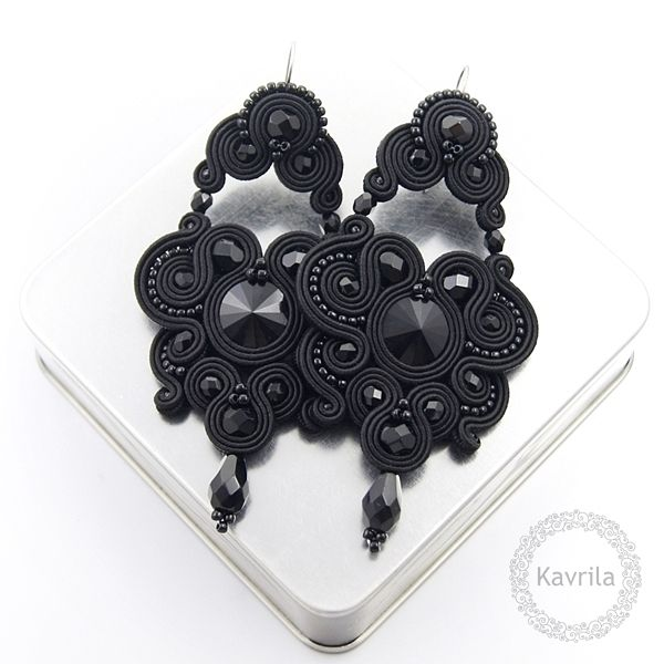 Exire black soutache - kolczyki czarne sutasz KAVRILA #sutasz #kolczyki #wieczorowe #rękodzieło #soutache #handmade #earrings #night #black #kavrila