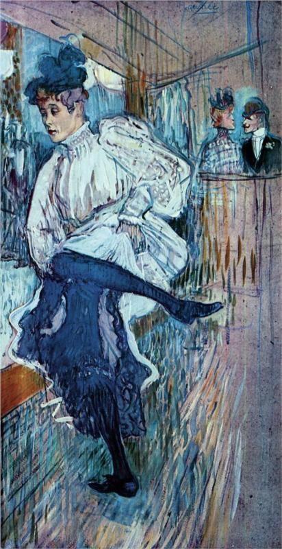 Jane Avril Dancing, Toulouse-Lautrec1892 http://www.wikipaintings.org/en/henri-de-toulouse-lautrec/in-bed-the-kiss-1892#supersized-artistPaintings-230465