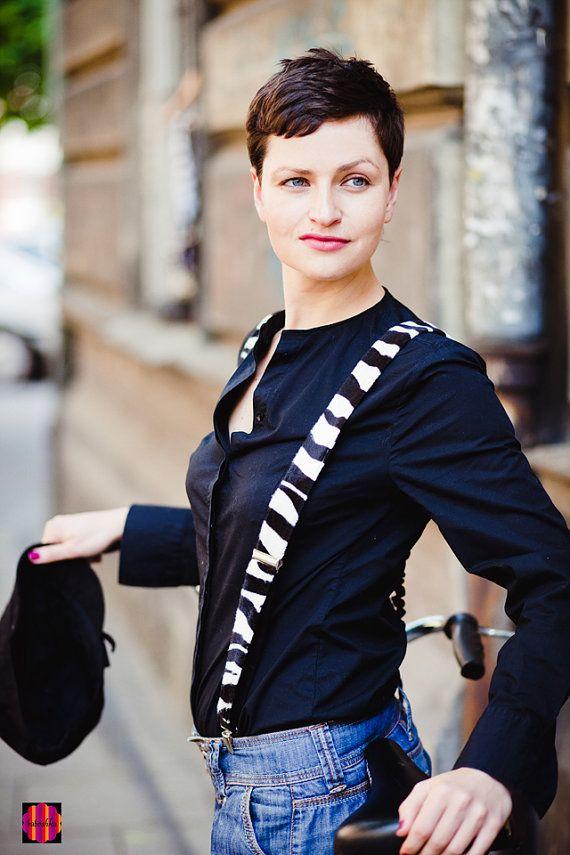 Velvet Women Suspenders Black White Suspenders Zebra by baboshkaa, $28.00