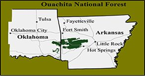 Map of Arkansas showing location of Ouachita National Forest