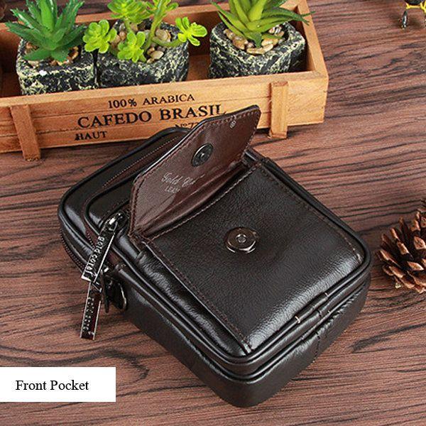 Multi Pocket Genuine Leather Waist Bag 5.3'' Casual Sling Bag Crossbody Bag For Men