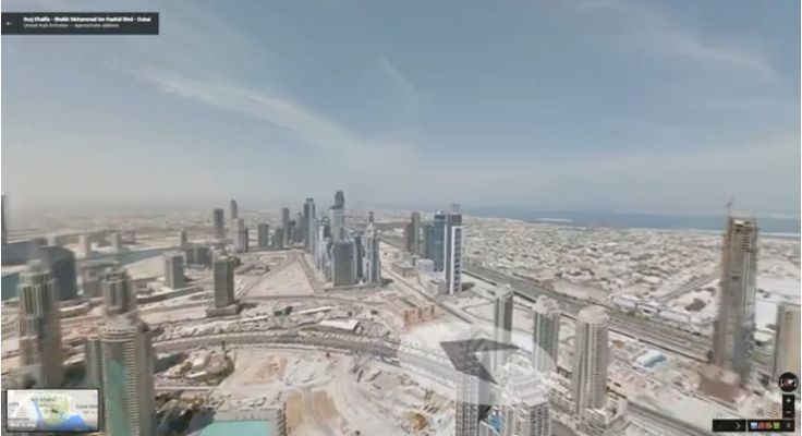 Google Street View from the top of Burj Khalifa in Dubai - the world's tallest man-made structure
