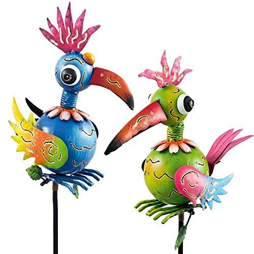 Lovely Windspiel Metall Gartenstecker Vogelpaar Lore und Tom Garten Dekoration colourliving http