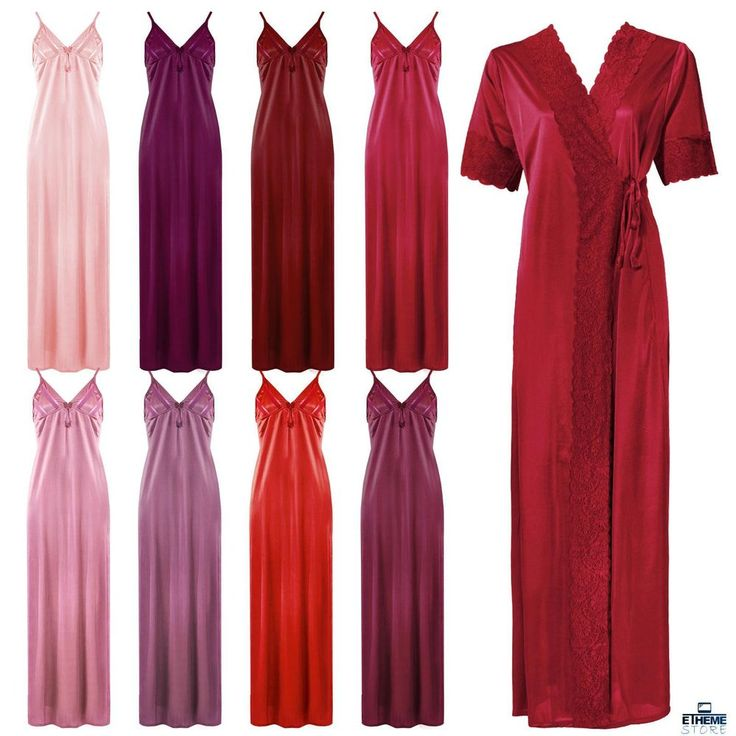 NEW LADIES SATIN NIGHTIE WOMENS LONG NIGHTY NIGHTDRESS ROBE GOWN 2 PC SET 8-14 in Clothes, Shoes & Accessories, Women's Clothing, Lingerie & Nightwear | eBay