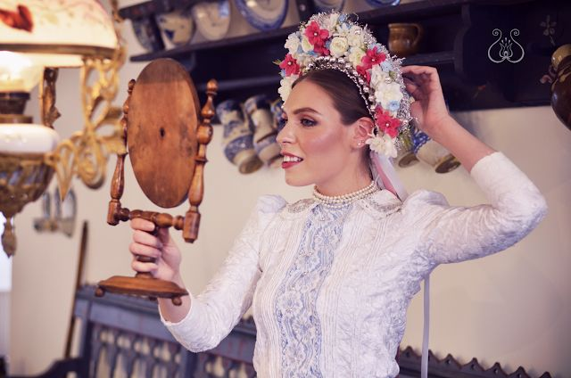 "Traditional slovak folk headdress called ""parta"" from region Záhorie (Slovakia) for young single girl."