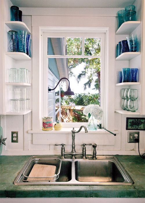 Add shelves to open spaced areas to make the most of the empty space. Small areas can make for a great way to hold glasses.