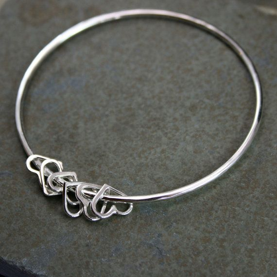Sterling Silver Bangle, Heart Charm Bracelet, Besos, Stacking Bracelet, Stackable Bangle, Single Bracelet, Mothers Day on Etsy, £34.49