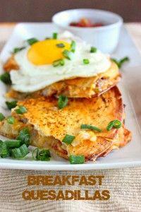 Breakfast Quesadillas. bacon, shredded hashbrowns, onions, jalapeno ...