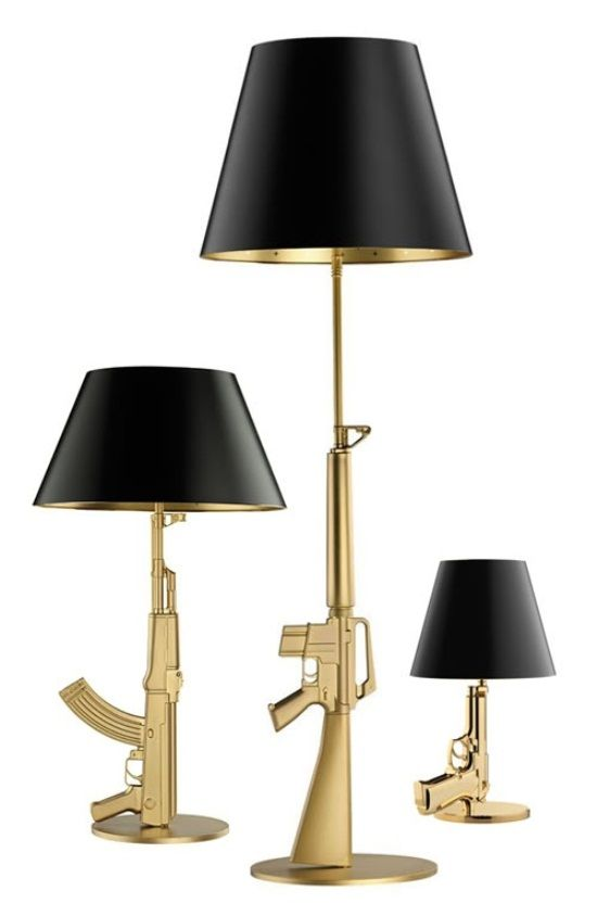 Flos gun lamps design by Philippe Starck  #interiordesigner #bestinteriordesigners #interiordesigninspiration home interior design, interior design ideas, interior decorating ideas Visit us at www.luxxu.net
