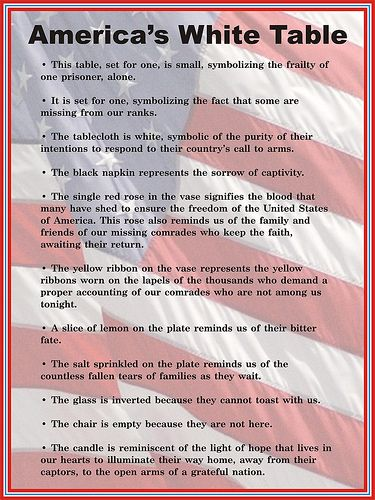 "Veterans Day ""White Table"" display description sign 