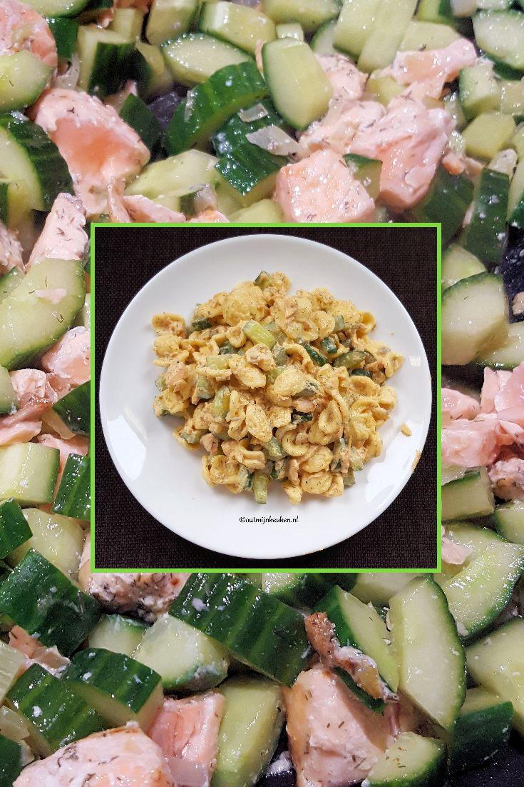 Eet je komkommer wel eens warm? Probeer het een keer, het is namelijk echt heel lekker! Ik heb het in dit gerecht gecombineerd met zalm en pasta.