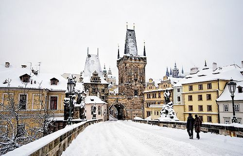 Winter Prague Charles Bridge