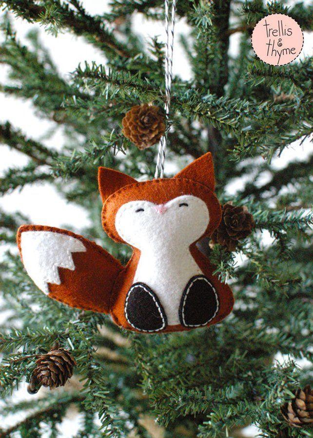 PDF patroon – bos Fox, Winter voelde Ornament patroon, kerstbal, Softie patroon