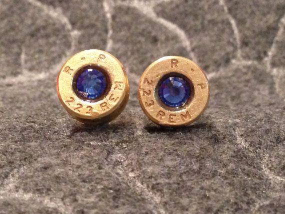 223 Brass Cartridge Earrings with Blue Swaroski by BlingingBullets