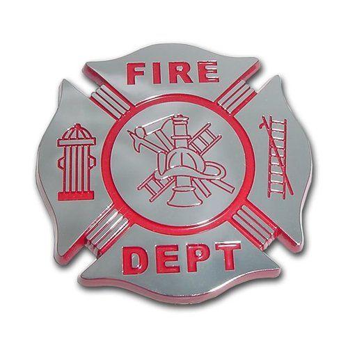Firefighter Red and Chrome Maltese Cross Car Emblem