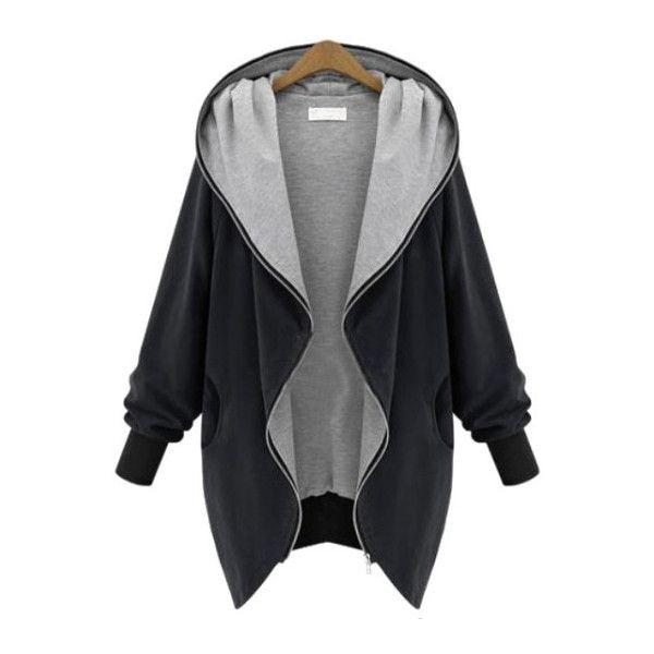 Khaki Raglan Sleeve Drape Front Cuffed Coat (€29) ❤ liked on Polyvore featuring outerwear, coats, drape front coat, raglan coat, print coat, pattern coat and long coat