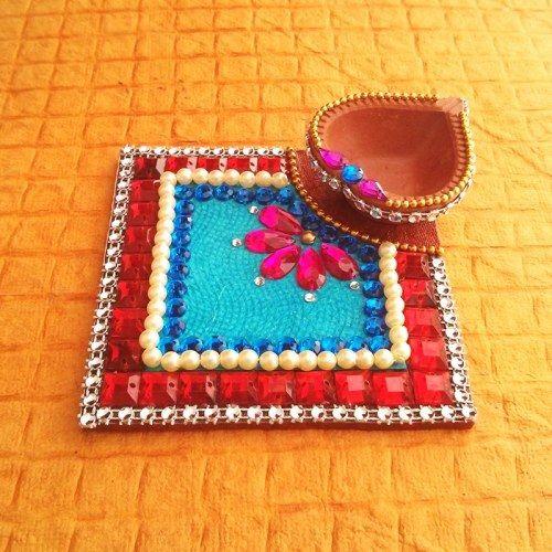 Decorative Kundan Diya Plate - Online Shopping for Diyas and Lights by Dipti Art & Craft