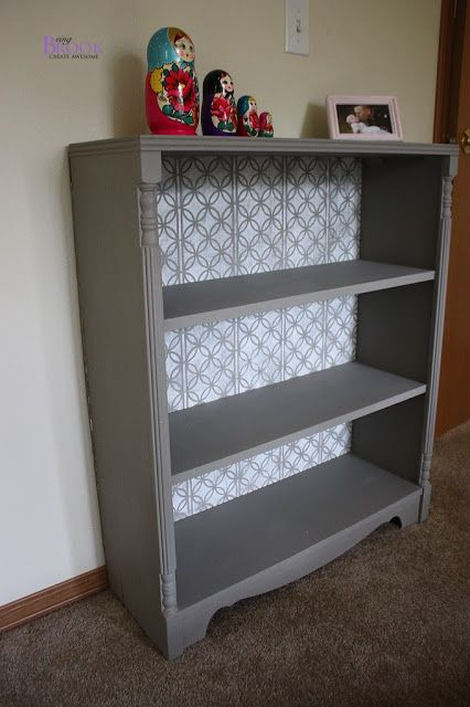 Stenciled Bookcase Annie Sloan French Linen Pure White