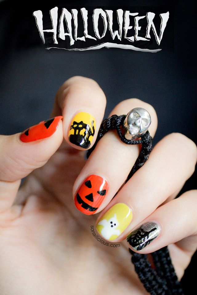 Halloween nail art how to. click for details. #halloween