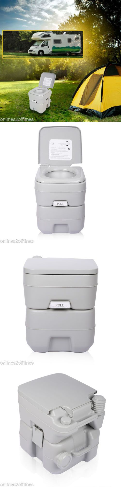 Portable Toilets and Accessories 181397: 5 Gallon 20L Portable Wc Toilet Flush Camping Porta Travel Outdoor Hiking Potty BUY IT NOW ONLY: $56.99