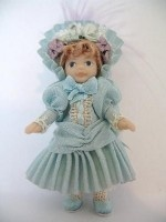Toy Doll in Palest Aqua Silk Dress £28